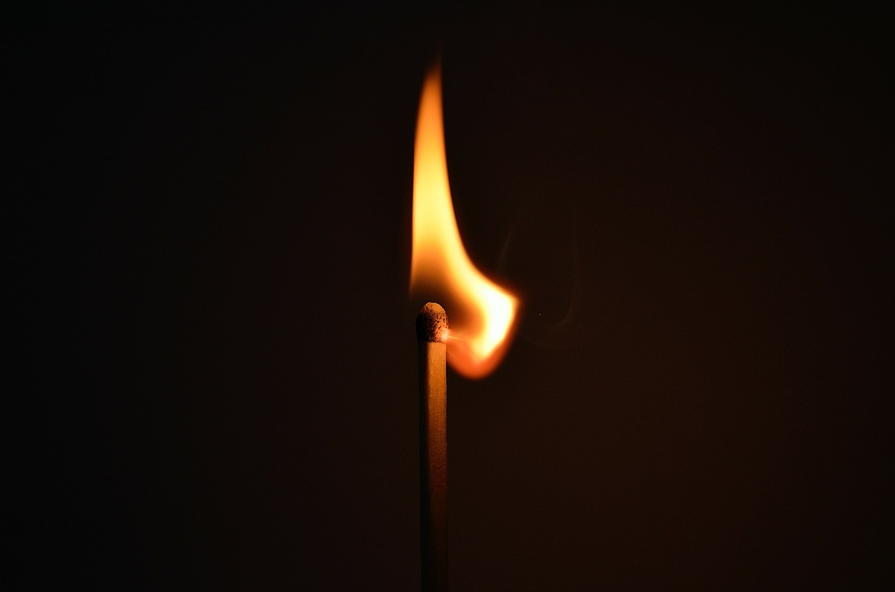 matchstick, fire, light
